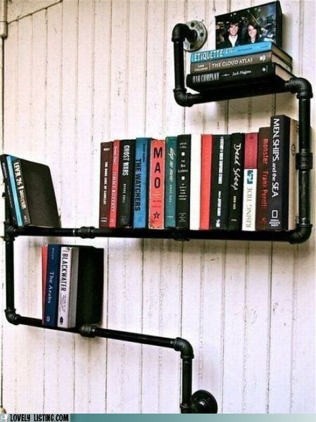 books,pipes,shelves