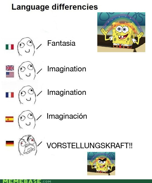 difference languages,german,imagination,Rage Comics,SpongeBob SquarePants,title