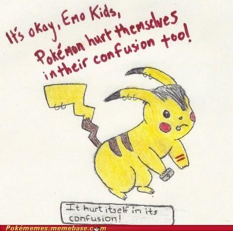 confusion,emolulz,pikachu,Pokémon,self harm