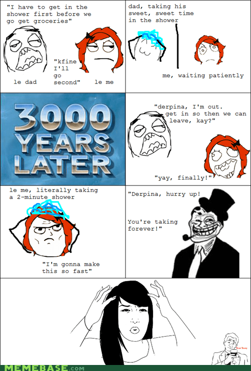 Rage Comics,shower,troll dad,wtf