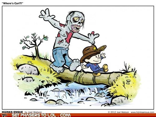 art calvin and hobbes Rick Grimes walker The Walking Dead zombie