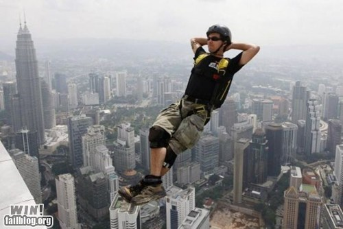 base jumping later Like a Boss parachute peace stunt