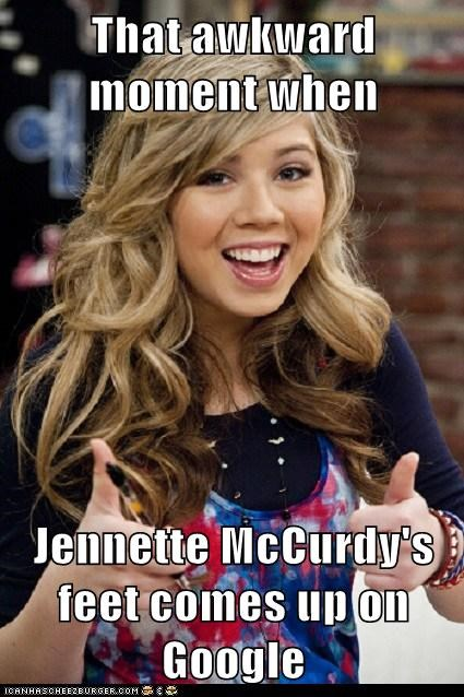 That awkward moment when  Jennette McCurdy's feet comes up on Google