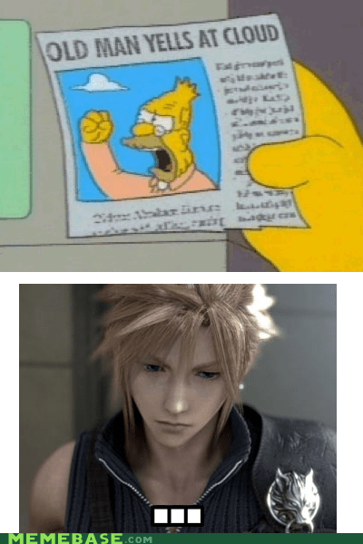 cloud,final fantasy,final fantasy VII,Memes,mopey,the internets,the simpsons