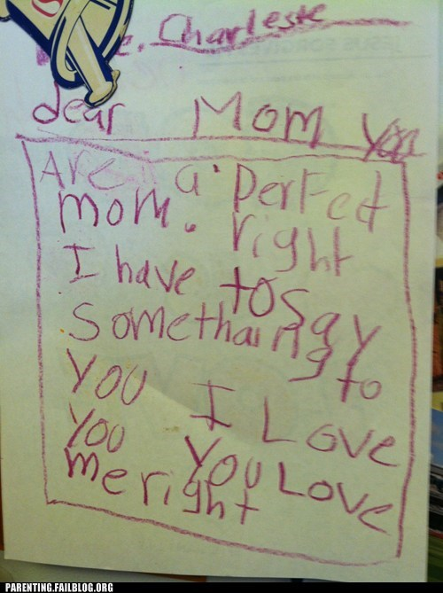 note from kid,perfect mom