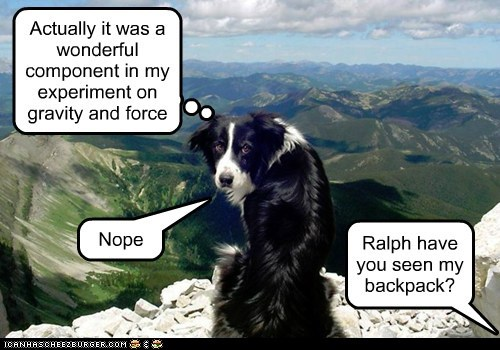 Ralph have you seen my backpack? Actually it was a wonderful component in my experiment on gravity and force Nope
