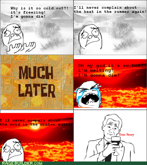 cold,hot,Rage Comics,summer,true story,weather,winter