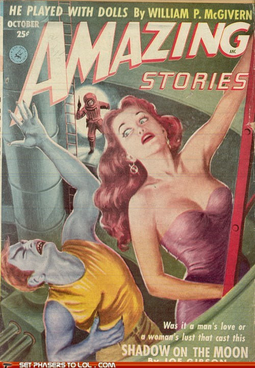 amazing stories,book covers,books,cover art,ladders,love,magazine,moon,science fiction,wtf
