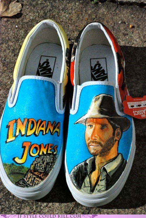 crazy shoes,geek,Indiana Jones,movies,Painted,vans
