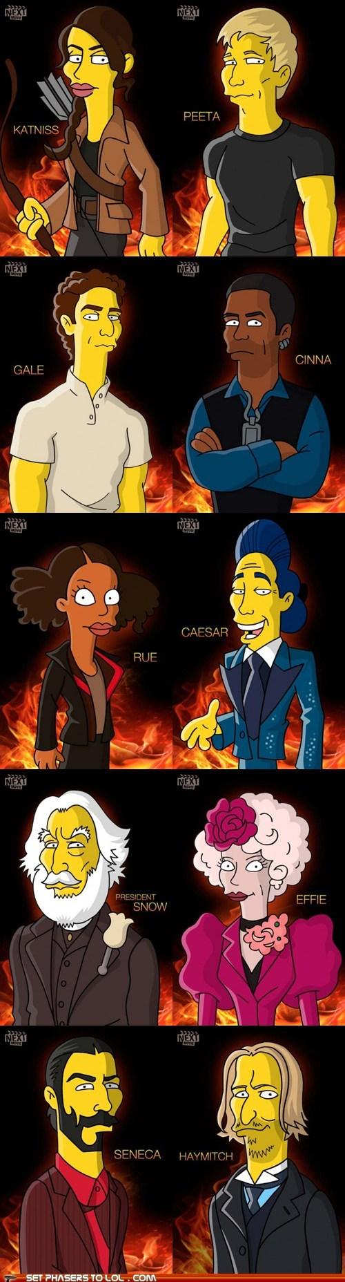 cartoons characters cinna effie trinket gale hunger games katniss Movie peeta simpsons - 6004613376