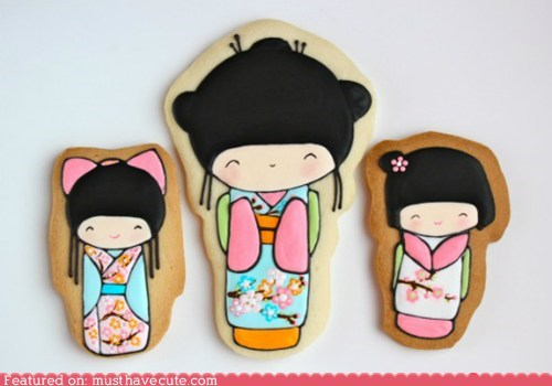 art cookies dolls epicute icing kokeshi