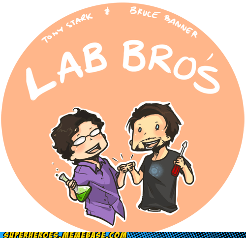 Awesome Art bruce banner buddies lab science tony stark - 6005143808