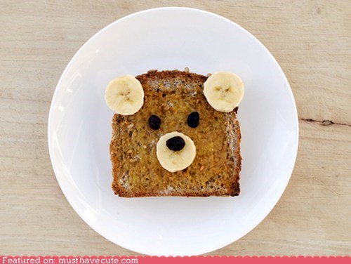 bananas,bear,bread,epicute,face,peanut butter,raisins