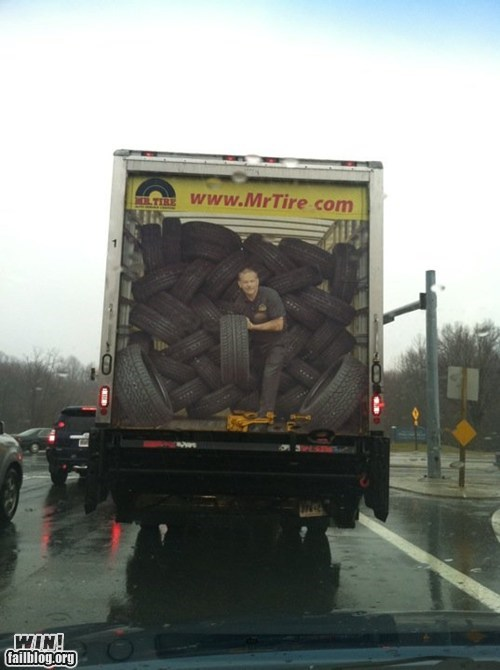 advertisement driving perspective scary tire truck - 6005220608