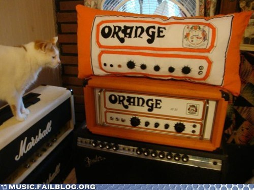 amp equipment orange Pillow