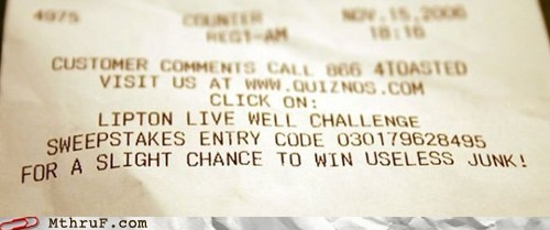 lipton quiznos rebate receipt sweepstakes useless junk