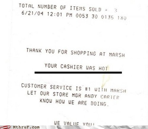cash machine cash register funny slip hot hottie reciept