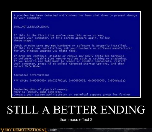 blue screen,ending,hilarious,mass effect 3