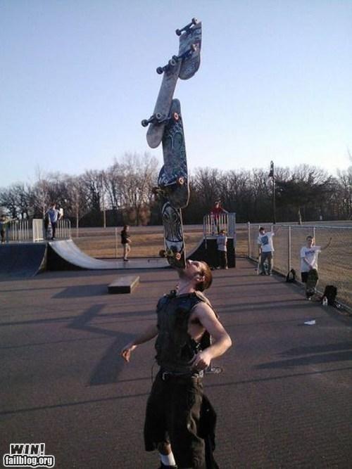 balance,chin,skateboard,skater,stunt,Stupid Human Trick