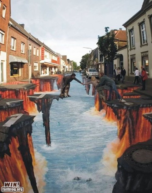 chalk art cliff illusion Street Art - 6005740800