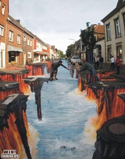 chalk art cliff illusion Street Art - 6005740800