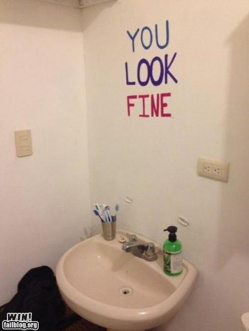 bathroom,encouragement,mirror,self esteem