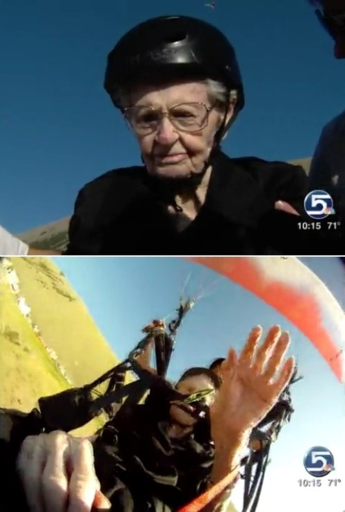 Mary Hardison Oldest Female to Paraglide Tandem world record