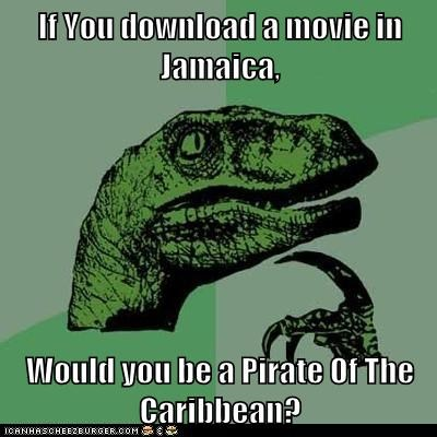 dinosaurs jamaica Memes philosoraptor pirates Pirates of the Caribbean pirating puns - 6006702336