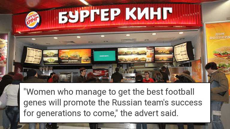 Burger King Russia fail, pregnancy ad.