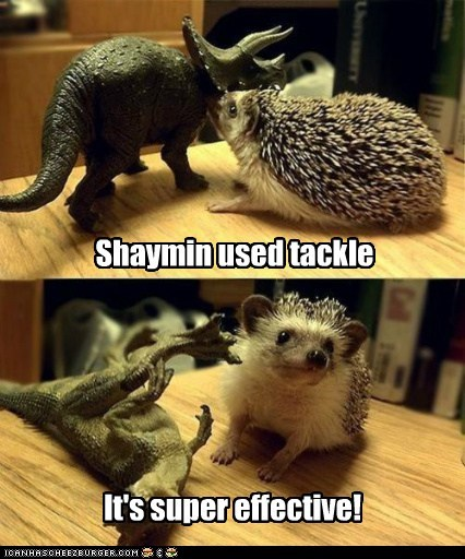 dinosaurs hedgehog hedgehogs multipanel Pokémon pokemon battle super effective tackle triceratops tyrannasaurus rex