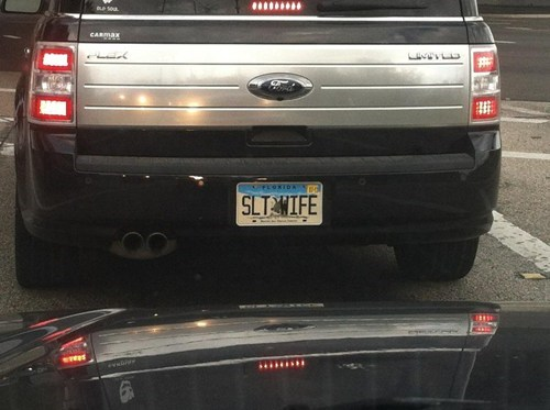 cheated on,slt wife,vanity license plate