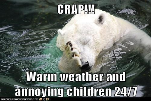 annoying,bad idea,children,facepalm,mistake,polar bear,warm,weather