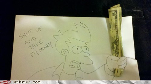 bills,cash,fry,futurama,money,note,tip