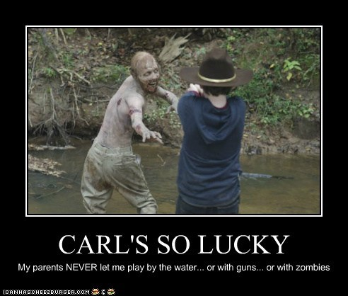 carl grimes,guns,lucky,parents,walker,The Walking Dead,water,zombie
