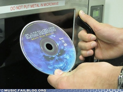 g rated,iron maiden,metal,microwave,Music FAILS,pun