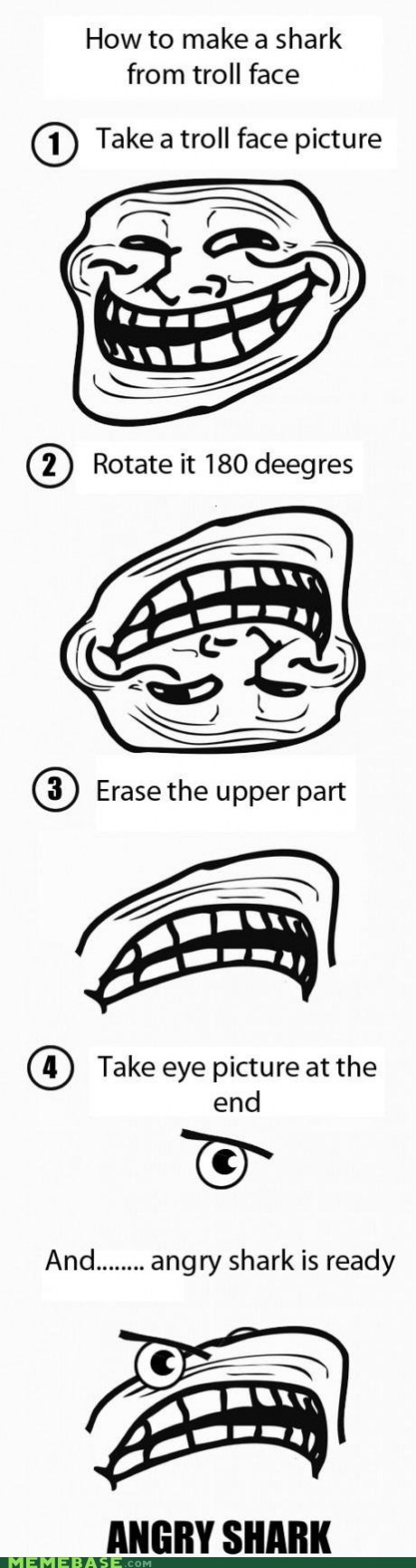 eyes How To meme madness rotate shark troll face - 6008716800