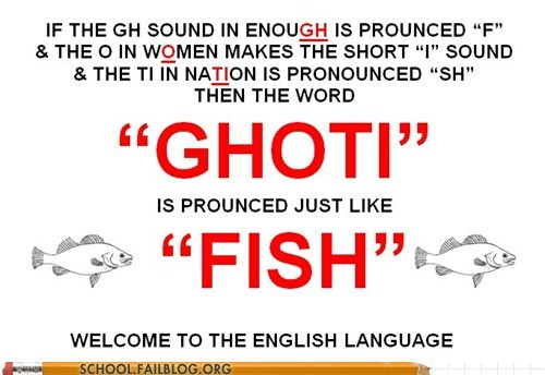 class is in session,english 102,fish,fun with pronunciation,ghoti,g rated,School of FAIL,the english language