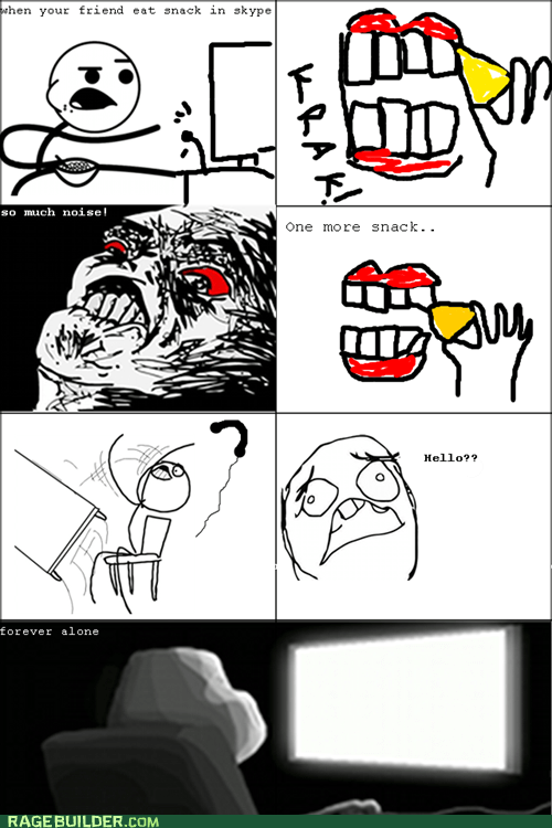 crunch,etiquette,forever alone,Rage Comics,snacking