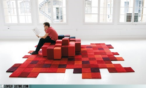 pixelated red rug steaing - 6009050112