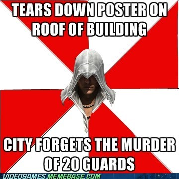 assassins creed bribes meme poster