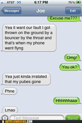 auto correct last night phone pubes