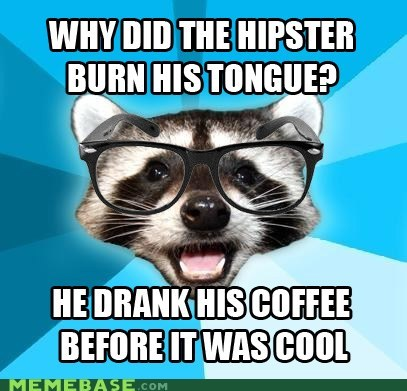coffee,cool,deserved,hipster,Lame Pun Coon