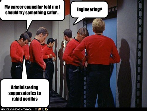 career advice,engineering,gorillas,rabid,redshirts,safer