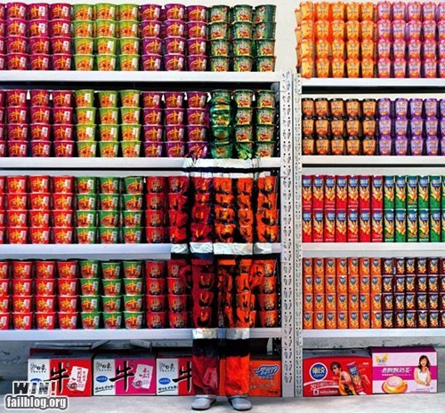 camouflage costume disguise grocery store illusion shelves