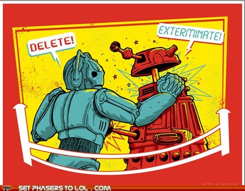 art,best of the week,cyberman,dalek,delete,doctor who,drawing,Exterminate,rock em sock em robots