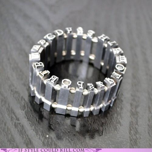 alphabet best of the week bracelets cool accessories fonts metal type - 6011192064