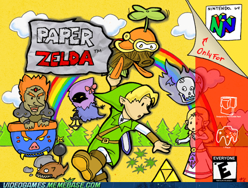 box art crossover nintendo 64 paper mario RPG rupees zelda - 6011900928