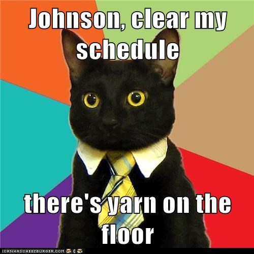 Johnson, clear my schedule there's yarn on the floor