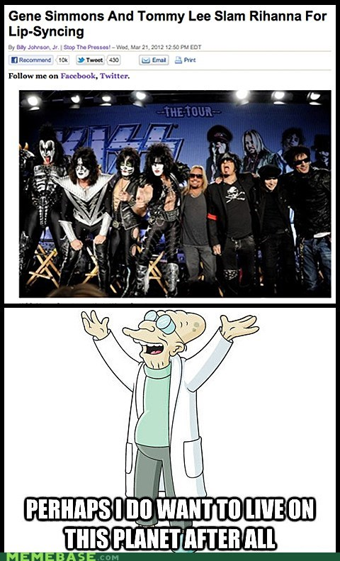 Gene Simmons,i dont want to live on this planet anymore,KISS,lip syncing,rihanna