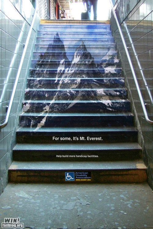 Ad,clever,design,disability,Mt Everest,stairs